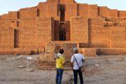 Tourist before Choqa Zanbil Ziggurat KhuzestanIran
